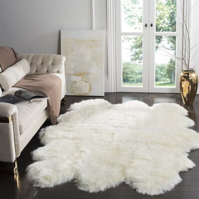 Allison Hand-Woven Faux Sheepskin White Area Rug Rug Size: Novelty 5 x 8