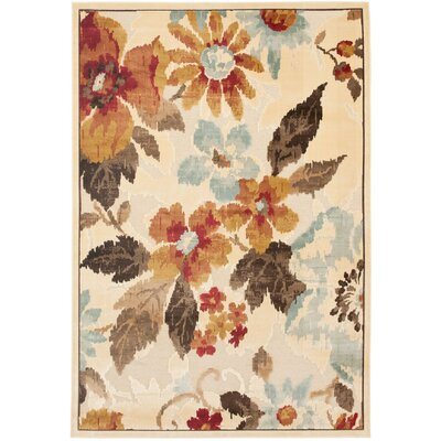 Berloz Cream/Brown Area Rug Rug Size: Rectangle 53 x 76