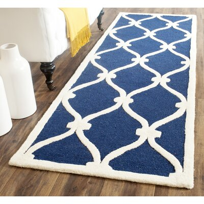 Leighton Wool Hand-Tufted Navy/Ivory Area Rug Rug Size: Rectangle 11 x 15