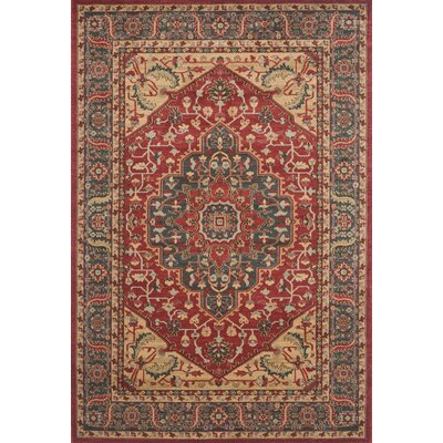 Donner Beige/Red Area Rug Rug Size: 3 x 5