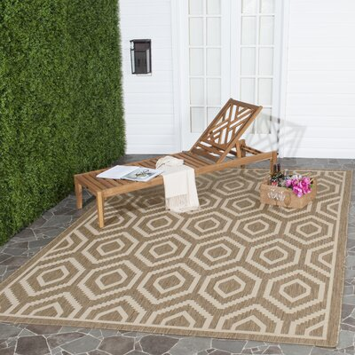Miami Brown/Tan Indoor/Outdoor Area Rug Rug Size: Round 710