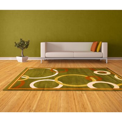 Green Area Rug Rug Size: 8 x 11