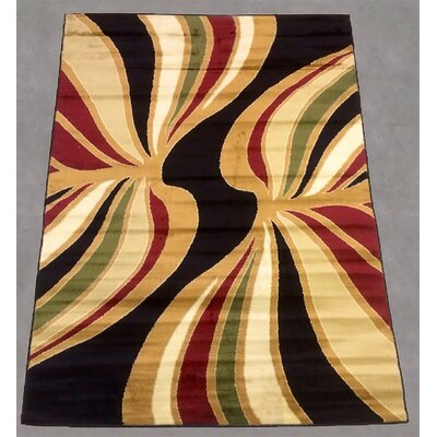 Black/Gold Area Rug Rug Size: 8 x 10