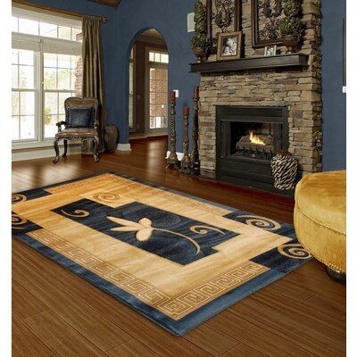 Hand-Carved Blue Area Rug Rug Size: 5 x 8