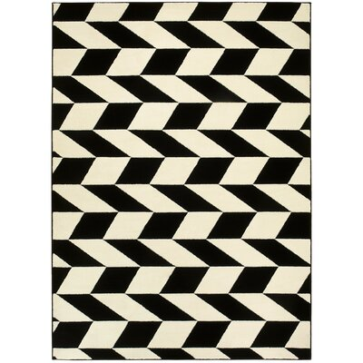 Black/Tan Area Rug Rug Size: 5 x 7