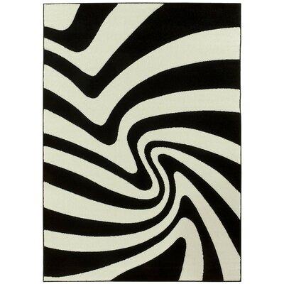 Zebra Black/White Area Rug Rug Size: 8 x 11