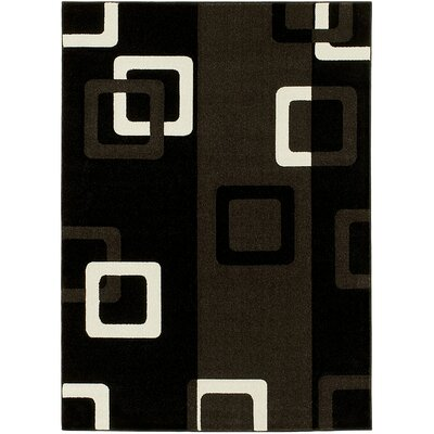 Geometric Black Area Rug Rug Size: 5 x 7