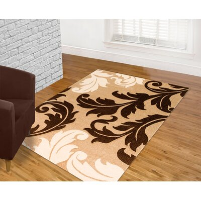 Floral Champagne Area Rug Rug Size: 5 x 7