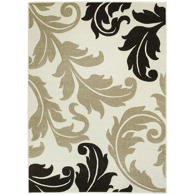 Floral Ivory Area Rug Rug Size: 5 x 7