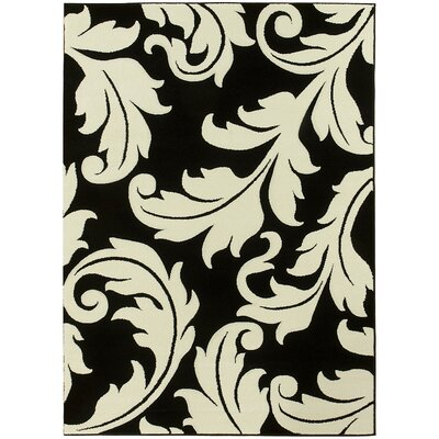 Floral Salt Pepper Black/White Area Rug Rug Size: 5 x 7