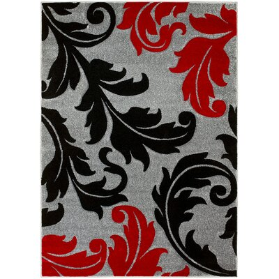 Floral Gray Area Rug Rug Size: 8 x 11