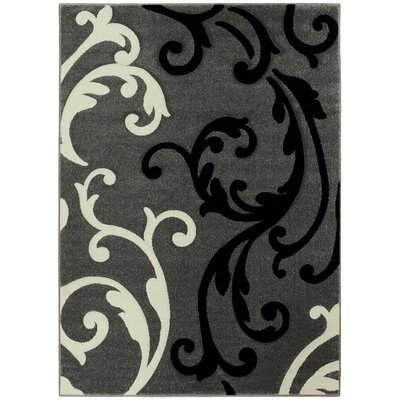 Floral Gray Area Rug Rug Size: 5 x 7