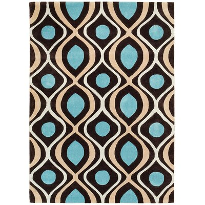 Hand Carved Coco Brown/Light Blue Area Rug Rug Size: 8 x 10