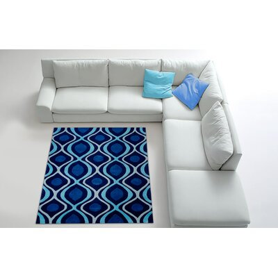 Hand Carved Blue/White Area Rug Rug Size: 5 x 7