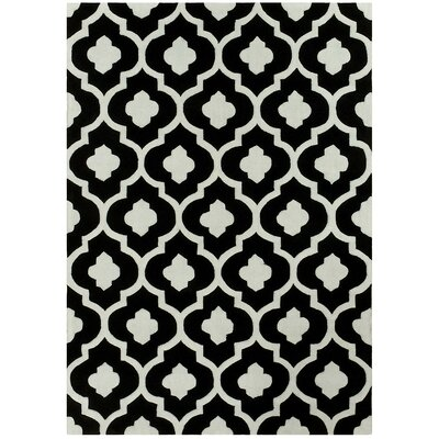 Hand Carved Trellis Black/Light Gray Area Rug Rug Size: 5 x 7