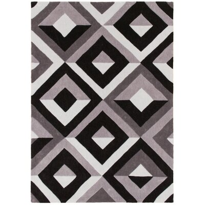 Hand Carved Diamond Shadow Black/Gray Area Rug Rug Size: 8 x 10