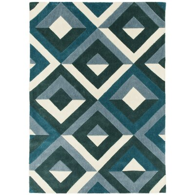 Hand Carved Diamond Teal/White Area Rug Rug Size: 5 x 7