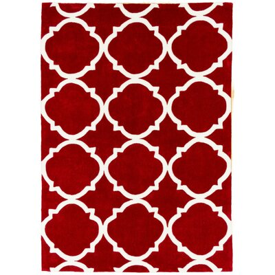Hand Carved Moroccon Trellis Cherry/White Area Rug Rug Size: 5 x 7