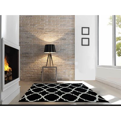 Hand Carved Moroccon Trellis Black/White Area Rug Rug Size: 5 x 7
