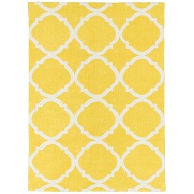 Hand Carved Moroccon Trellis Canary Yellow/White Area Rug Rug Size: 8 x 10