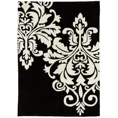 Hand Carved Crest Black/White Area Rug Rug Size: 5 x 7