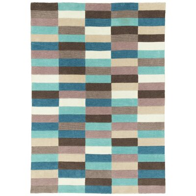 Hand Carved Blue Mix Squares Area Rug Rug Size: 5 x 7