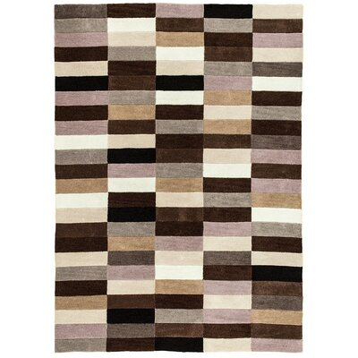 Hand Carved Squares Chocolate Area Rug Rug Size: 5 x 7