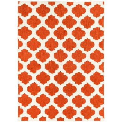 Hand Carved Moroccon Trellis Orange/White Area Rug Rug Size: 5 x 7