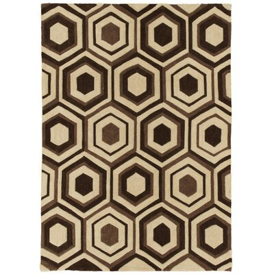 Hand Carved Geomtric Chocolate Area Rug Rug Size: 8 x 10