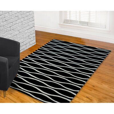 Hand Carved Wave Black/White Area Rug Rug Size: 8 x 10
