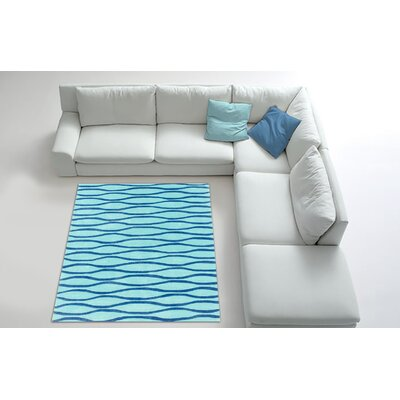 Hand Carved Wave Blue Mix Area Rug Rug Size: 8 x 10