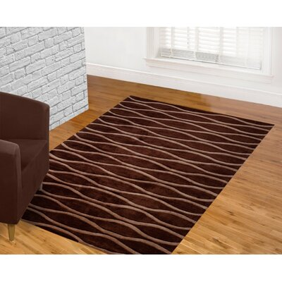 Hand Carved Wave Chocolate Area Rug Rug Size: 5 x 7