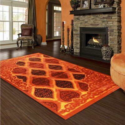 Orange Area Rug Rug Size: 8 x 11