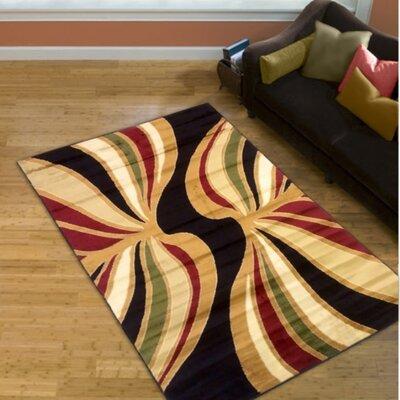 Black/Gold Area Rug Rug Size: 5 x 8