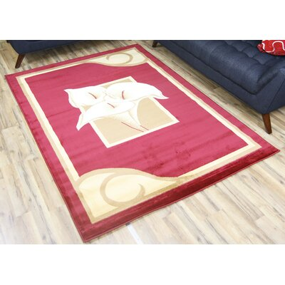 Red/Beige Area Rug Rug Size: 5 x 8