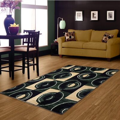 Dark Green/Beige Area Rug Rug Size: 5 x 8