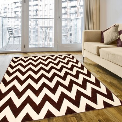 Chocolate/Cream Area Rug Rug Size: 5 x 7