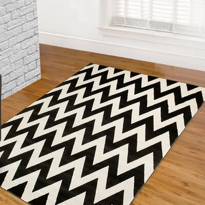 Coal/White Area Rug Rug Size: 8 x 11