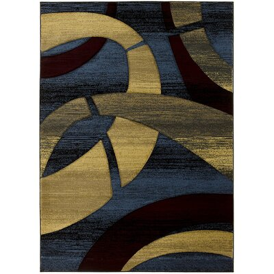 Zakkery Hand-Carved Blue/Yellow Area Rug