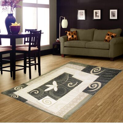 Hand-Carved Green Area Rug Rug Size: 8 x 11