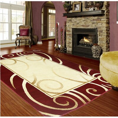 Red/Beige Area Rug Rug Size: 8 x 11