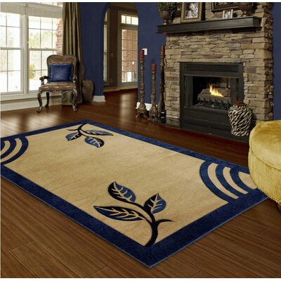 Hand-Carved Blue Area Rug Rug Size: 4 x 6