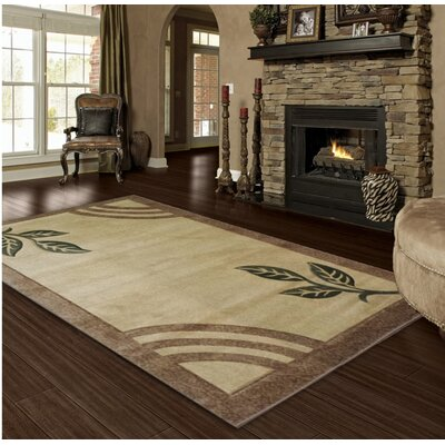 Hand-Carved Gold Area Rug Rug Size: 4 x 6