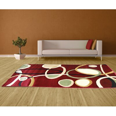 Hand-Carved Red Area Rug Rug Size: 5 x 8