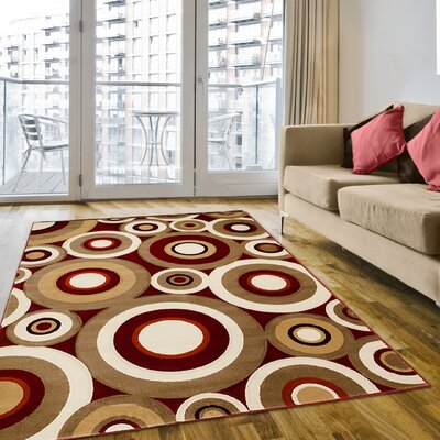 Red Area Rug Rug Size: 5 x 7