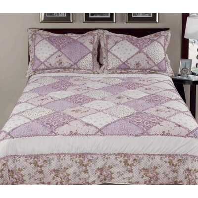 3 Piece Reversible Comforter Set Color: Purple, Size: King