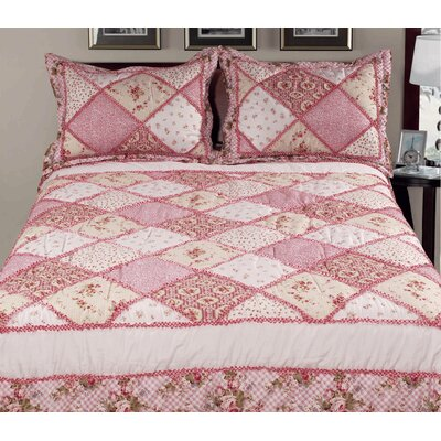 3 Piece Reversible Comforter Set Color: Pink, Size: King