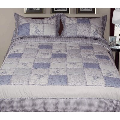 3 Piece Reversible Comforter Set Color: Blue, Size: King