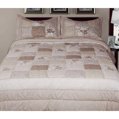 3 Piece Reversible Comforter Set Color: Cream, Size: King