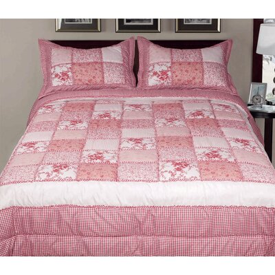 3 Piece Reversible Comforter Set Color: Red, Size: Queen